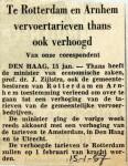19570115 Ook in Rotterdam en Arnhem hogere tarieven