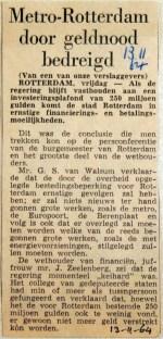 19641113 Metro Rotterdam door geldnood bedreigd
