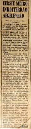 19660615 Eerste metro in Rotterdam afgeleverd