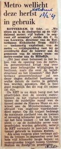 19670218 Metro wellicht deze herfst in gebruik (Volkskrant)