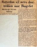 19670901 Rotterdam wil metro doortrekken naar Hoogvliet