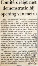 19680125 Comitee dreigt met demonstratie bij opening metro