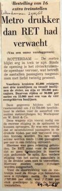 19680424 Metro drukker dan RET had verwacht (Rotterdammer)
