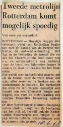 19680618 Tweede metrolijn Rotterdam komt spoedig
