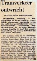 19680703 Tramverkeer ontwricht door draadbreuk Schiedam