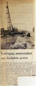 19680821 Verlenging metroviaduct aan Zuidplein gestart