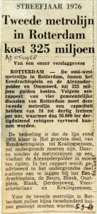 19680905 Tweede metrolijn kost Rotterdam 325 miljoen (AD)