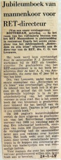 19681123 Jubileumboek van mannenkoor voor RET-directeur