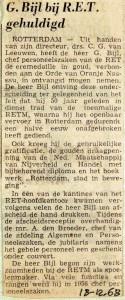 19681218 G. Bijl bij RET gehuldigd