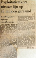 19681220 Exploitatietekort nieuwe lijn 15 miljoen
