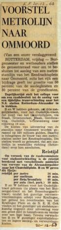 19681220 Voorstel metrolijn Ommoord (Parool)