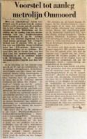 19690102 Voorstel tot aanleg metrolijn Ommoord