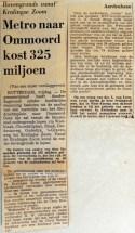 19690103 Metro naar Ommoord kost 325 miljoen