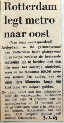 19690103 Rotterdam legt metro naar Oost