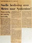 19690625 Snelle beslissing over metro naar Spijkenisse