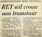 19700102 RET wil vrouw aan tramstuur