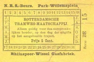 Kort na opening van de eerste lijnen werd een sectietarief ingevoerd. In plaats van voor de gehele rit kon men vanaf dat moment tegen een gunstig tarief ook korte ritten maken. Dit is een plaatsbewijs van 5 cent dat geldig was op één der trajecten Rhijnspoor - Beurs, Park - Willemsplein of Rhijnspoor - Wissel Gasfabriek.