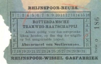 Coupon geldig voor één sectie, afgegeven aan een houder van een abonnementskaart. Het plaatsbewijs is geldig voor de trajecten Rhijnspoor – Beurs of Rhijnspoor – Wissel Gasfabriek (op de Oostzeedijk). Rhijnspoor is de oorspronkelijke naam van het Maas-station. De Nederlandsche Rhijnspoorweg-Maatschappij had in 1855  de treinverbinding Rotterdam – Utrecht geopend. In 1890 ging de onderneming op in de Maatschappij tot exploitatie van Staatsspoorwegen.
