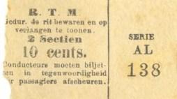 Biljet voor 2 sectiën ter waarde van 10 cents. De afmetingen zijn 48 x 27 mm.