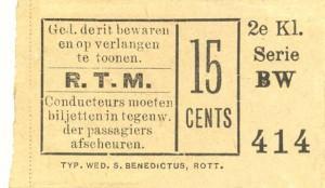 Na 1891 waren de plaatsbewijzen voor de stoomtram naar Schiedam nog slechts te onderscheiden van de paardentrambiljetten door de vermelding van de klasse waar het kaartje geldig voor was.