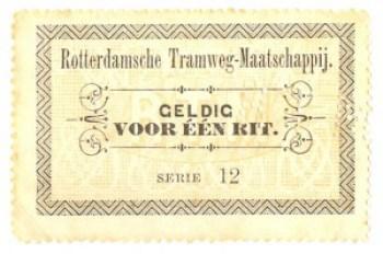 Coupon voor één rit op een stadslijn afkomstig uit een couponboekje. De letters RTM zijn in omslag en coupon geperforeerd.