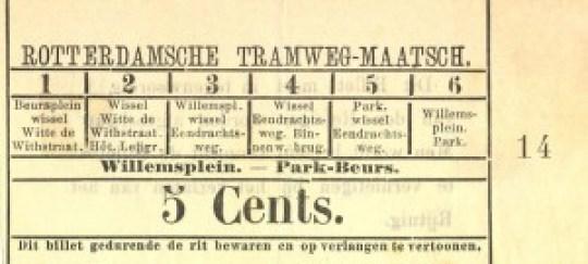 Multifunctioneel sectiebiljet van 5 cents voor de lijn Willemsplein - Park - Beurs. De zes bestaande sectievarianten konden door de conducteur aangestreept worden. Het aantal verschillende plaatsbewijzen per lijn werd op deze manier beperkt.