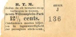 Plaatsbewijs van 12,5 cent voor de verbinding Beurs - Willemsplein - Park. De afmetingen zijn ten opzichte van vroegere kaartjes kleiner. Het traject wordt nog wel vermeld. De opmaak van de latere standaardkaartjes valt reeds te herkennen.
