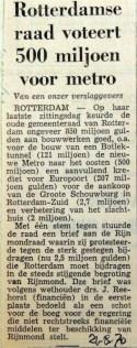 19700821 Rotterdamse Raad voteert 500 miljoen voor metro