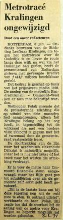 19710108 Metrotracee in Kralingen ongewijzigd
