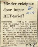 19710305 Minder reizigers door hoger RET tarief (RN)
