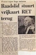 19710305 Raadslid stuurt vrijkaart RET terug