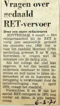 19710306 Vragen over gedaald RET vervoer