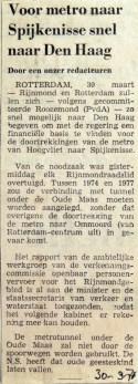 19710330 Voor metro naar Spijkenisse snel naar Den Haag