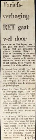 19730313 Tariefsverhoging gaat vdoor.