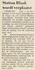 19730915 Station Blaak verplaatst. (NRC)