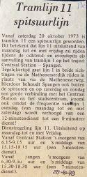 19731025 Lijn 11 spitsuurlijn.