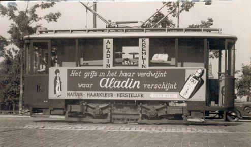 Railslijpwagen 2301, Oosterkade, reclametram voor Aladin, ca. 1933