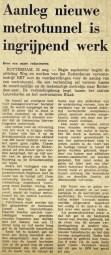 19740822 Aanleg nieuwe metrotunnel. (NRC)