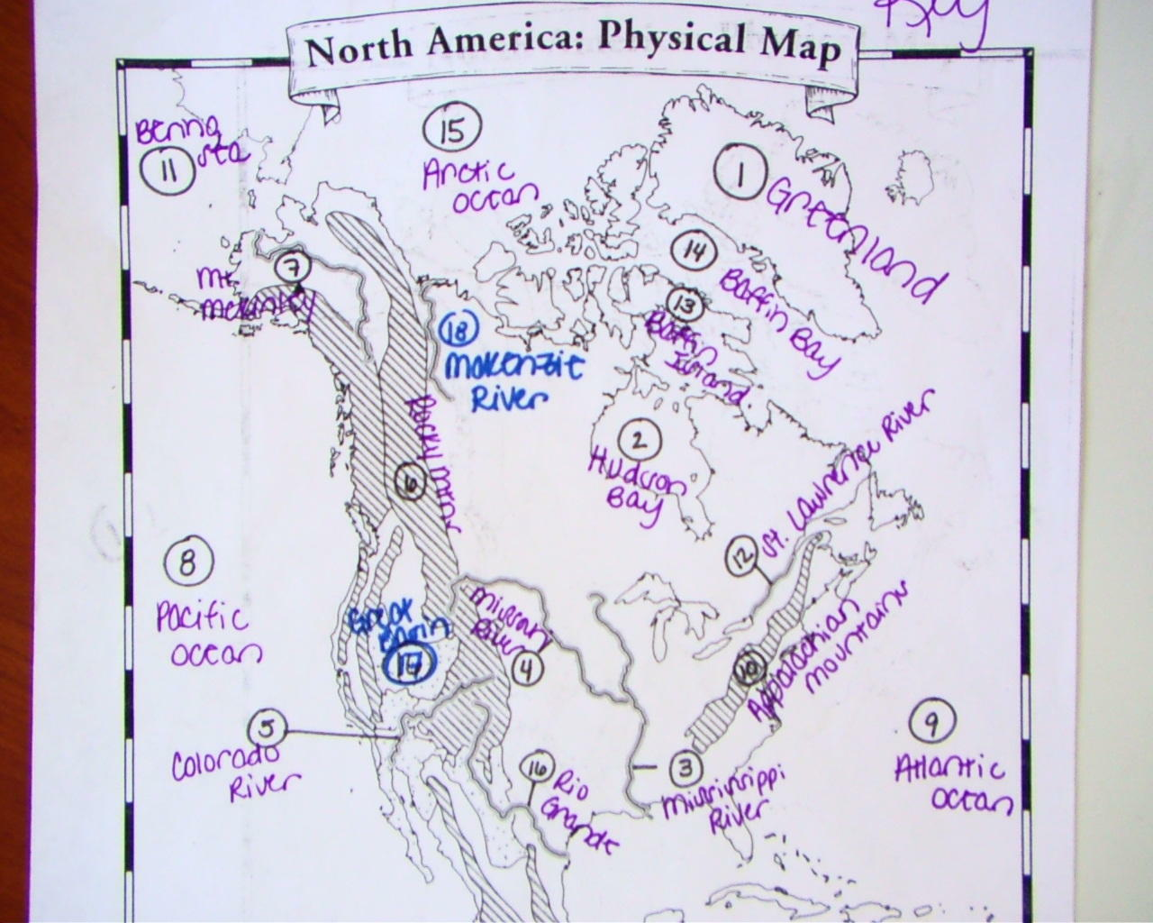Physical Map Of North America Blank
