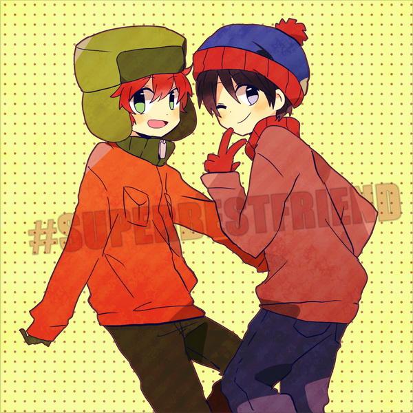 Anime/Manga Style South Park Fanart - Kyle Broflovski, Stan Marsh