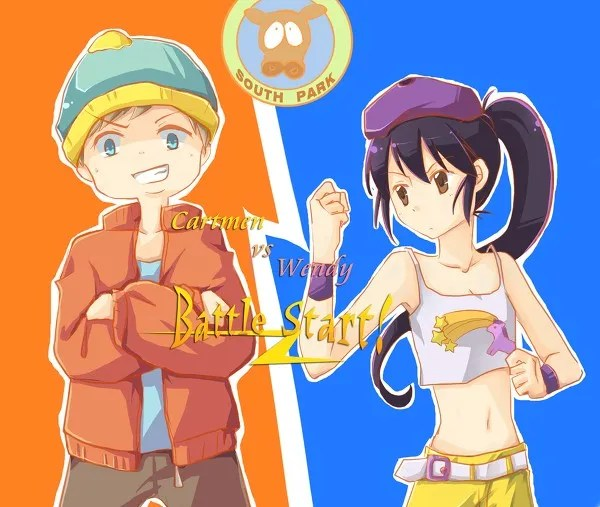Anime/Manga Style South Park Fanart - Eric Cartman vs Wendy Testaburger Battle