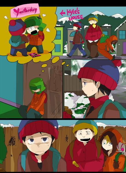 Anime/Manga Style South Park Fanart - Kyle Broflovski, Stan Marsh, Eric Cartman, Kenny McCormick