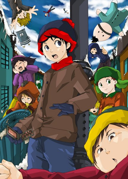 Anime/Manga Style South Park Fanart - Ike, Wendy Testaburger, Kyle Broflovski, Stan Marsh, Eric Cartman, Kenny McCormick