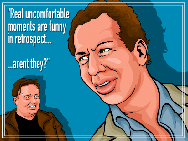 Ricky Gervais' infamously cringeworthy interview of Garry Shandling. Art by TwentyFourSix.