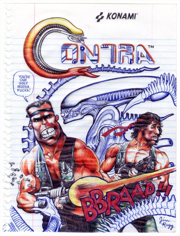 Contra with Arnold Schwarzenegger and Sylvester Stallone Pen Drawing by Jim Rugg