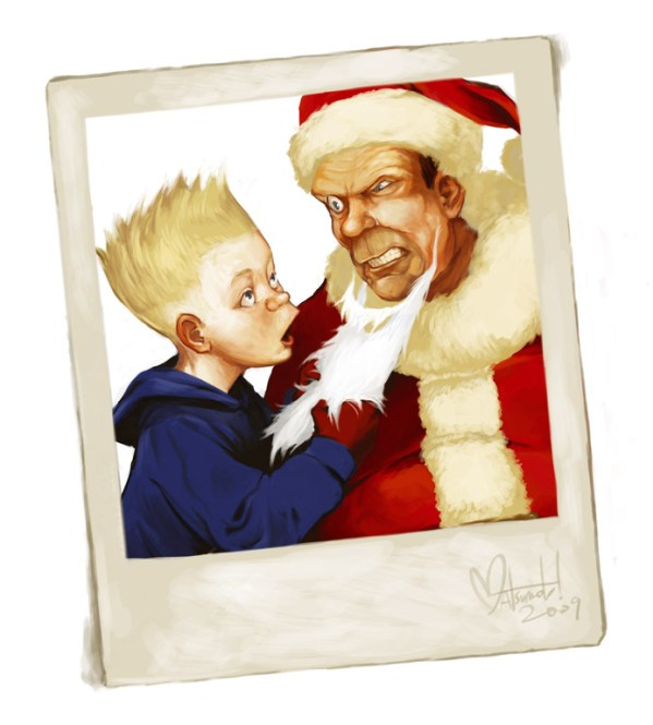 A Rockwell Simpsons Christmas by Space Coyote - Bart, Homer, Norman Rockwell Painting