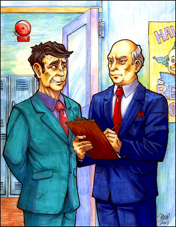 Principal Seymour Skinner and Superintendent Chalmers by Space Coyote - Simpsons Fanart
