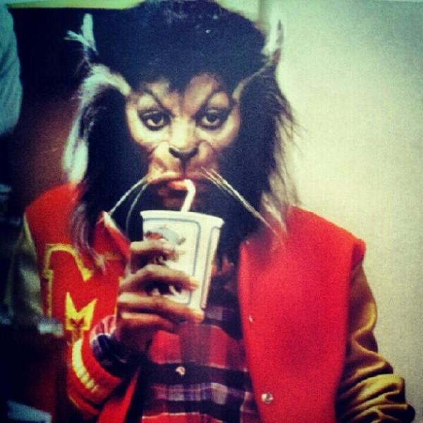 Michael Jackson in Werewolf Makeup Enjoying a Tasty Beverage - Thriller Behind-The-Scenes