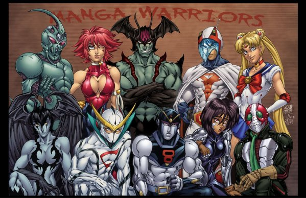"Manga Warriors by Chris ""C-dubb"" Williams - Devilman, Cutey Honey, Guyver, Battle Angel Alita, 8 Man, Sailor Moon"