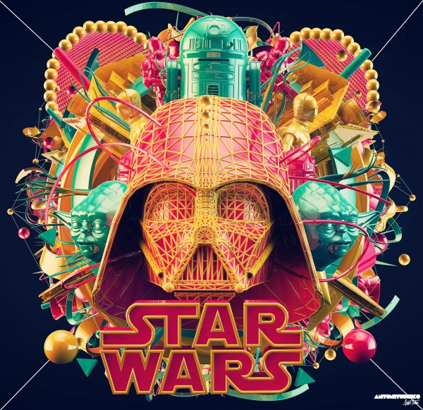 Colorful 3D Star Wars Art by Antoni Tudisco - CGI, Darth Vader, Digital